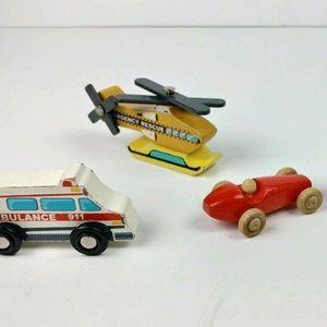 Vintage Wooden Toys Lot Of 4 Handmade Firetruck